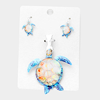 Watercolor Turtle Magnetic Pendant Set