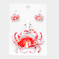 Watercolor Crab Magnetic Pendant Set