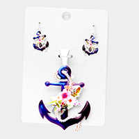 Watercolor Anchor Magnetic Pendant Set