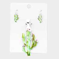 Watercolor Cactus Magnetic Pendant Set