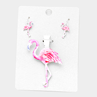 Watercolor Flamingo Magnetic Pendant Set