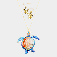 Turtle Freshwater Pearl Charm Pendant Long Necklace
