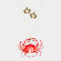 Crab Freshwater Pearl Charm Pendant Long Necklace