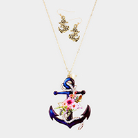 Anchor Freshwater Pearl Charm Pendant Long Necklace