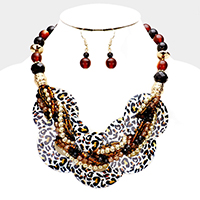 Layered Round Shell Twisted Multi Beaded Necklace