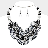 Layered Zebra Round Shell Twisted Multi Beaded Necklace