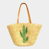 Embroidery Cactus Straw Shoulder Bag