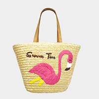 Embroidery Flamingo Straw Shoulder Bag
