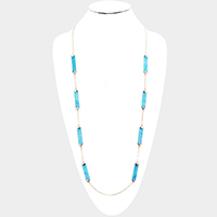 Celluloid Acetate Rectangle Station Long Necklace