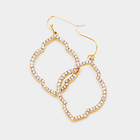 Crystal Rhinestone Pave Quatrefoil Hoop Dangle Earrings