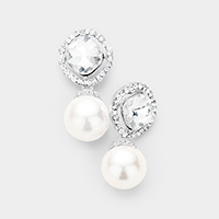 Crystal Square Pearl Detail Evening Earrings