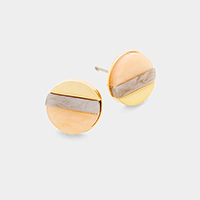Color Block Celluloid Acetate Circle Stud Earrings