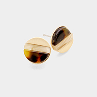Color Block Tortoise Celluloid Acetate Circle Stud Earrings