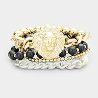 Lion Head Stack Stretch Bracelet