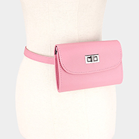 Leather Turn Lock Fanny Pack
