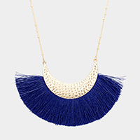 Crescent Moon Tassel Fringe Pendant Long Necklace