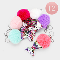 12PCS - Pom Pom Reversible Sequin Mermaid Tail Key Chains