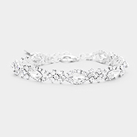 Marquise Crystal Oval Detail Evening Bracelet