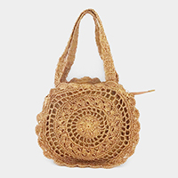 Straw Round Shoulder Tote Bag