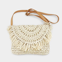 Straw Tassel Fringe Crossbody Bag