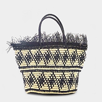 Boho Patterned Straw Tote Bag