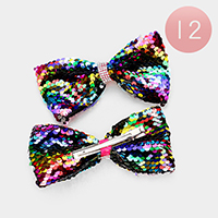 12PCS - Reversible Sequin Bow Hair Clips