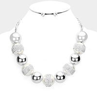 Rhinestone Embellished Pearl Detail Collar Bib Necklace