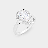 CZ Teadrop Accented Ring