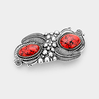 Tribal Feather Double Red Coral Accented Barrette