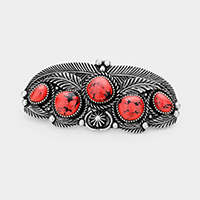 Tribal Red Coral Accented Leaf Cluster Barrette