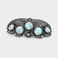 Tribal Turquoise Accented Leaf Cluster Barrette