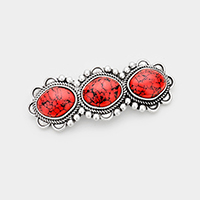 Tribal Triple Red Coral Accented Barrette