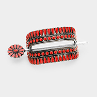 Tribal Enamel Red Coral Accented Barrette with Stick