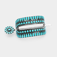 Tribal Enamel Turquoise Accented Barrette with Stick
