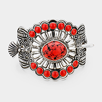Tribal Red Coral Centered Barrette with Stick