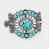 Tribal Turquoise Centered Barrette with Stick
