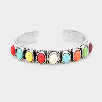 Oval Multi Colored Stone Cluster Cuff Bracelet