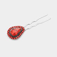 Tribal Red Coral Teardrop Hair Comb Pin