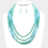 Multi Strand Turquoise Faceted Beaded Bib Necklace