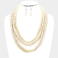 Multi Strand Howlite Faceted Beaded Bib Necklace