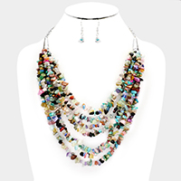 Multi Strand Abstract Stone Cluster Bib Necklace