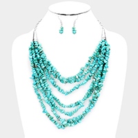 Multi Strand Abstract Turquoise Stone Cluster Bib Necklace