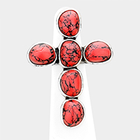 Tribal Red Coral Cross Stretch Ring