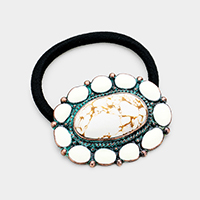 Tribal Enamel Howlite Centered Stretch Hair Band