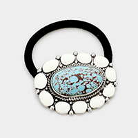 Tribal Enamel Turquoise Centered Stretch Hair Band