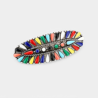 Tribal Enamel Multi Colored Accented Barrette