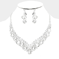 Crystal Teardrop Cluster Evening Necklace