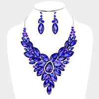 Teardrop Accented Oval Cluster Vine Evening Necklace
