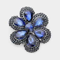 Crystal Teardrop Cluster Flower Pin Brooch