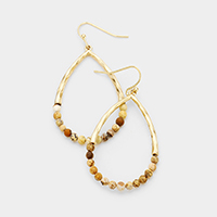 Semi Precious Stone Detail Metal Teardrop Earrings